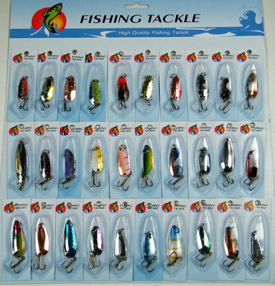 30Pcs / set sortierte Fischen-Köder Crankbait Laser Spinners Löffel Angeln Treble-Gerät-Haken-Köder-Spinner-Metallfischen Wobbler T200602