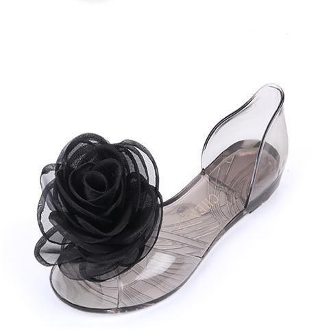 2020 estate netti sandali rossi donne morbide cristallo fondo di pesce trasparente bocca Beach Ladies fiori tallone piano gelatina piana scarpe