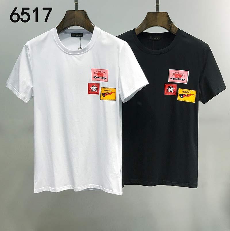 2020 Şık Erkek Tasarımcı Tişörtlü% 100 Pamuk Harf Erkek Nefes tişört Casual Yaka Kadın Yaz Kısa Kollu yazdır