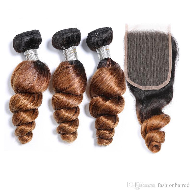 Ombre du Brésil desserrées vague humaine Bundles cheveux avec fermeture T1b 30 Deux Tons cheveux humains Weave 3 Bundles avec fermeture de dentelle Lot