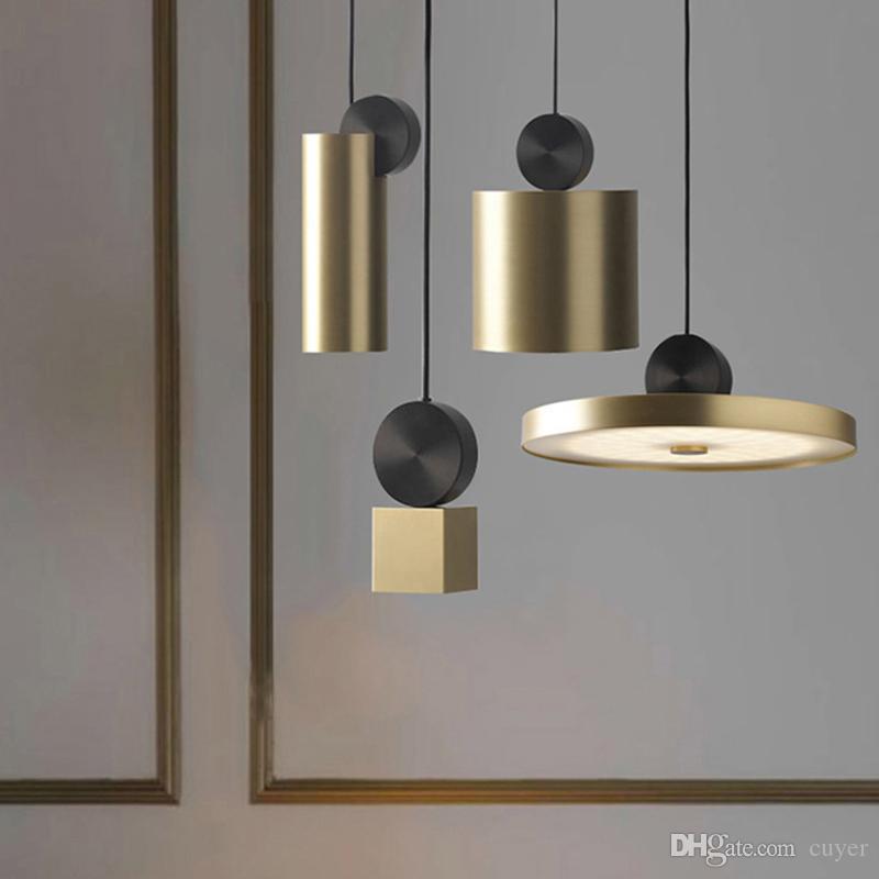 Nordic простые светодиодные подвесные светильники из нержавеющей стали творческий светильник геометрический комбинированный подвесной светильник AC220V Droplight