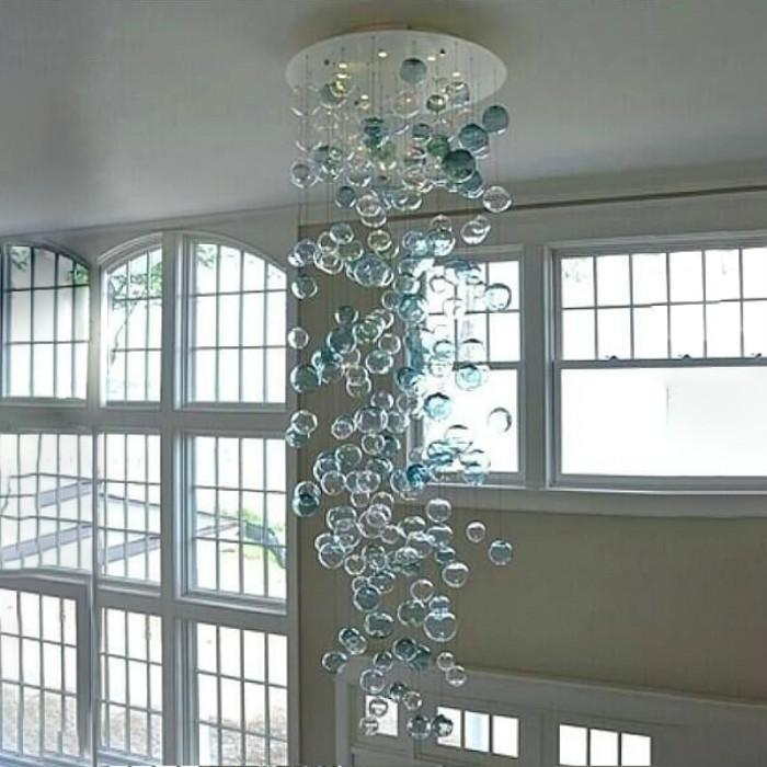Yaratıcı Kristal Avize Şeffaf Turkuaz El Üflemeli Cam Avize Villa LED Kabarcık Aydınlatma Avize Odası Ev Dekorasyon Yemek için