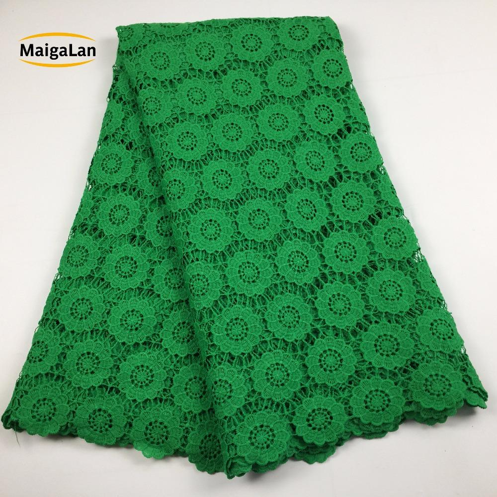 MAIGALAN High quality nigerian wedding african lace fabric/100% Cotton lace/guipure cord lace fabric for wedding party SML788-02