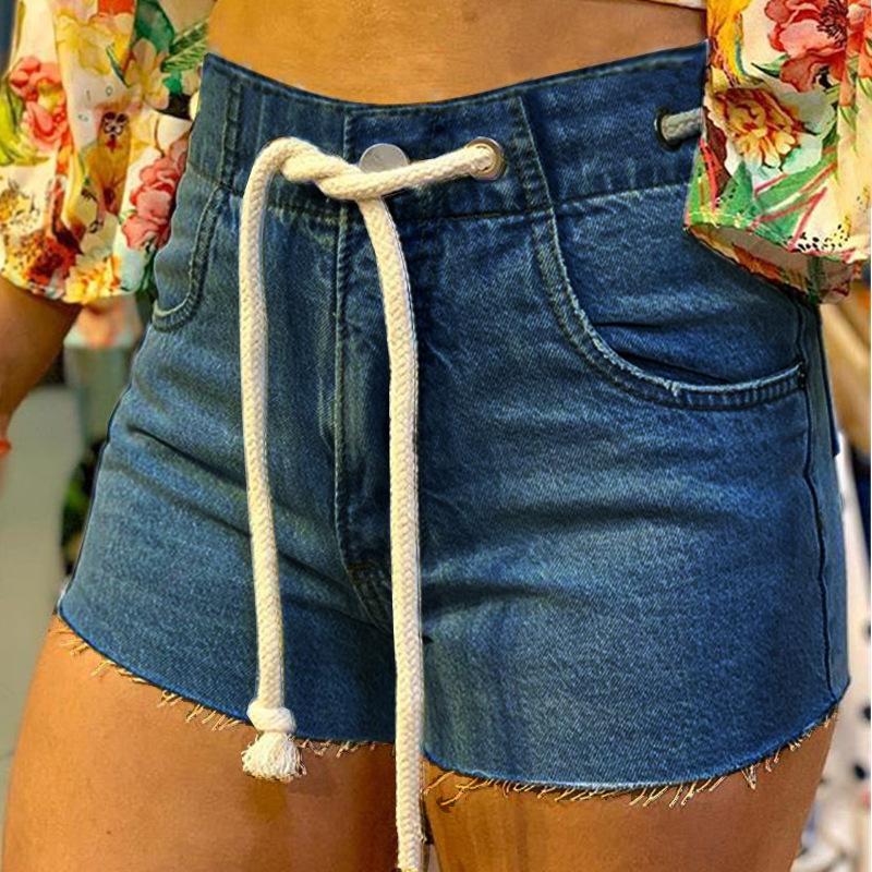 High Waisted Women Jean Shorts Summer 2020 Drawstring Cotton Sexy Female Rave Streetwear Denim Shorts New