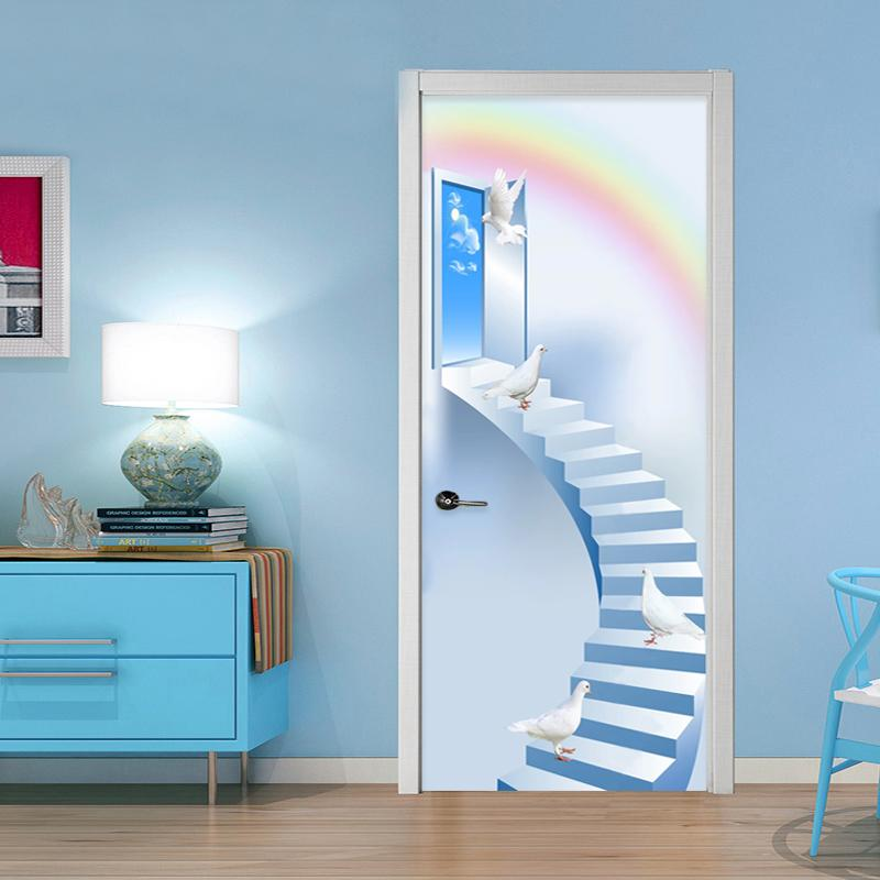 Home Decor Door Sticker 3D Stairs Pigeon Rainbow Mural Wallpaper Living Room Kid's Bedroom Door Poster Self-Adhesive Waterproof