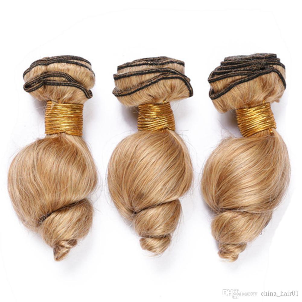 "#27 Light Brown Loose Wave Human Hair Extensions Honey blonde Human Hair Bundles 300Gram Wavy Blonde Malaysian Virgin Hair Weaves 10-30"""