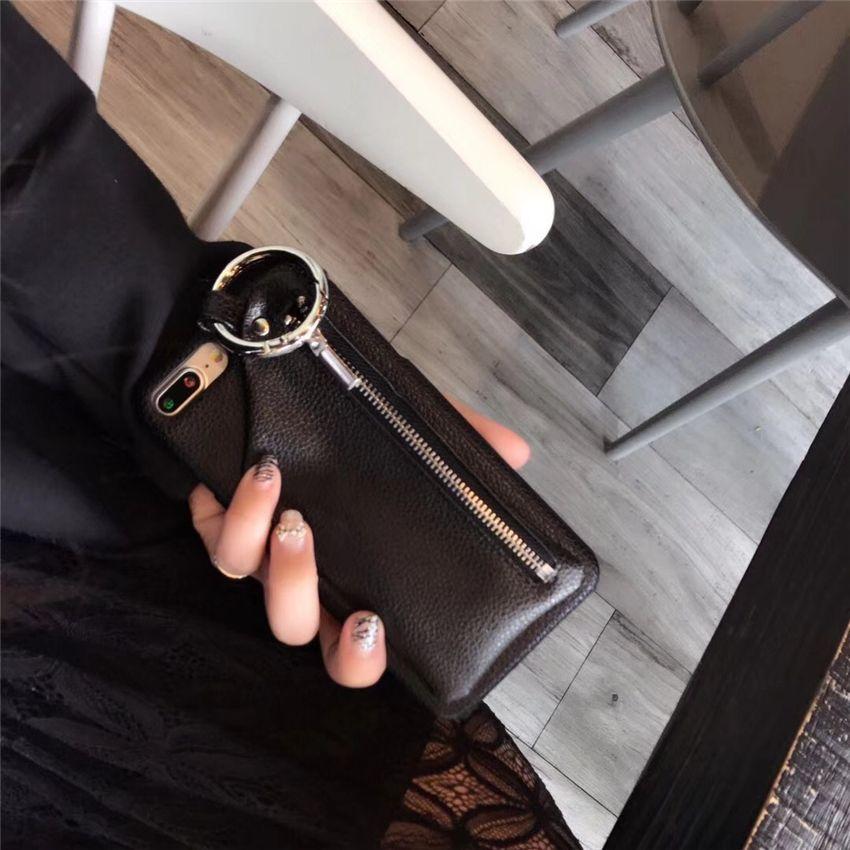 Diseñadores para iPhone6 6p 7/8 7plus / 8plus XR XS MAX Funda de cuero Monedero Funda Cubierta trasera Cremallera Teléfono celular Estuches de gel duros