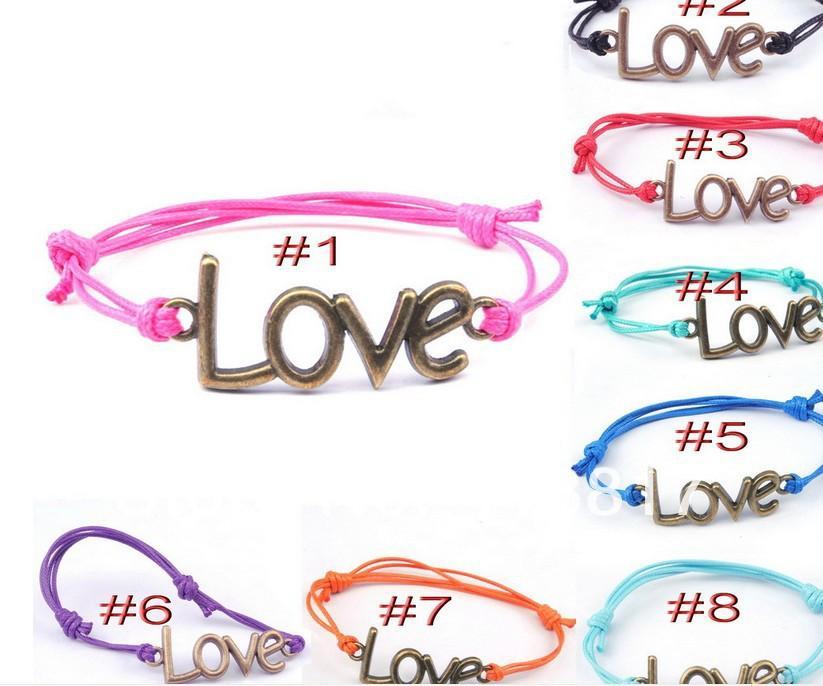 Mix 8 Colors Fashion Anti-gold Love Shape Charm Alloy Bracelets Leather Adjustable Bracelet 80pcs/lot