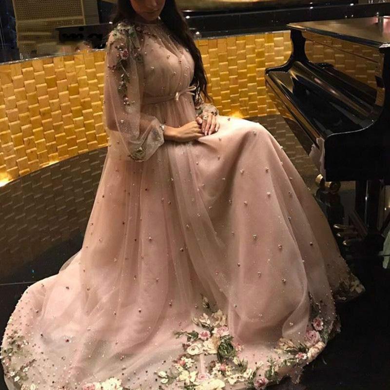 Manga larga elegante flor vestidos de noche de la bola Perlas Said partido formal desfile Mhamad vestido más del tamaño Vestidos de baile Juniors Vestido de Noche
