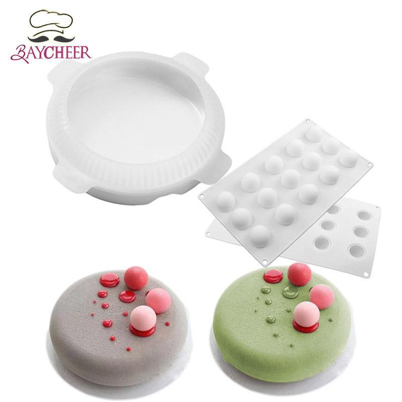 2 قطع شقة الأعلى جولة شكل صغير الكرة سيليكون كعكة قوالب ل موس حلويات خبز Q190430
