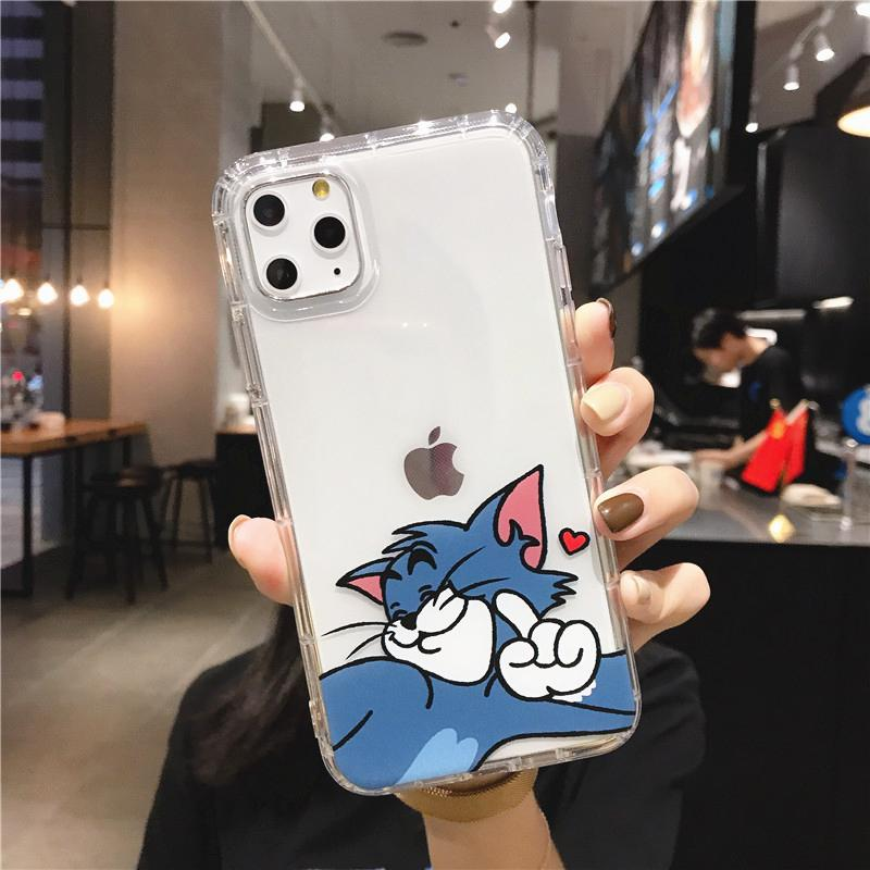 Phone Cases For iphonephone 11 Pro X S Max 7 8 6 Plus XR Case SE 2020 Cute Cartoon Love Heart Clear Shockproof Soft Couple Back Cover