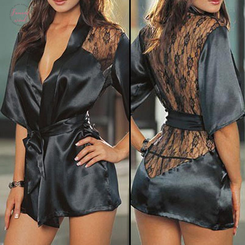 Woman Clothes Womens Lace Print Backless Sleepwear Baby Sexy Bandage Nightwear Dress Underwear Hot Drop Shipping