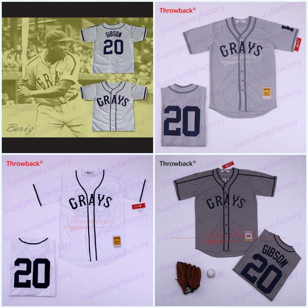 20 Josh GIBSON Jersey Homestead Grays Negro Liga Button-Down-Grauweiß-Baseball-Shirts