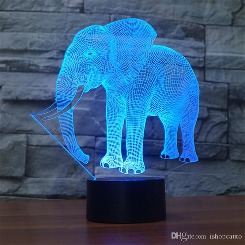Yeni fil akıllı ışıkta eklentiyi renkli led masa lambası akrilik plaka gece lambası usb 3d