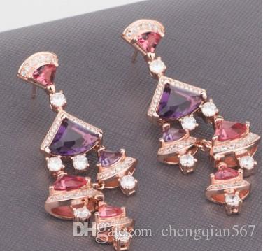 2 paris prezzo basso di alta qualità Chaming all'ingrosso cristallo di d nappe 925 della signora d'argento orecchini 60tyty