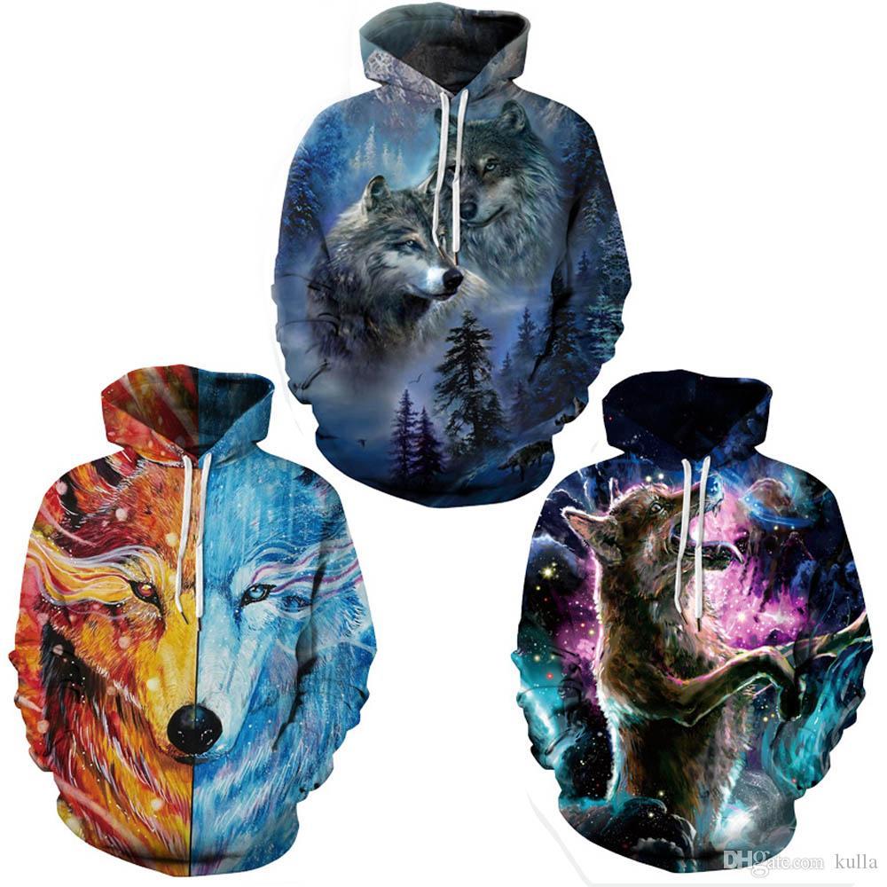 Giyim S-5XL 132 ile Yeni Stil Erkek Tasarımcı Kapüşonlular Stretch Sweatshirt Hip Hop Kazaklar Spor 3D Baskı Kurt Çiftler