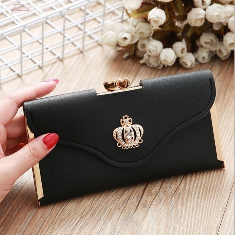 Womens Trendy Pu cuir Couronne d'embrayage Portefeuille Porte longue carte bourse boîte sac à main Drop Shipping