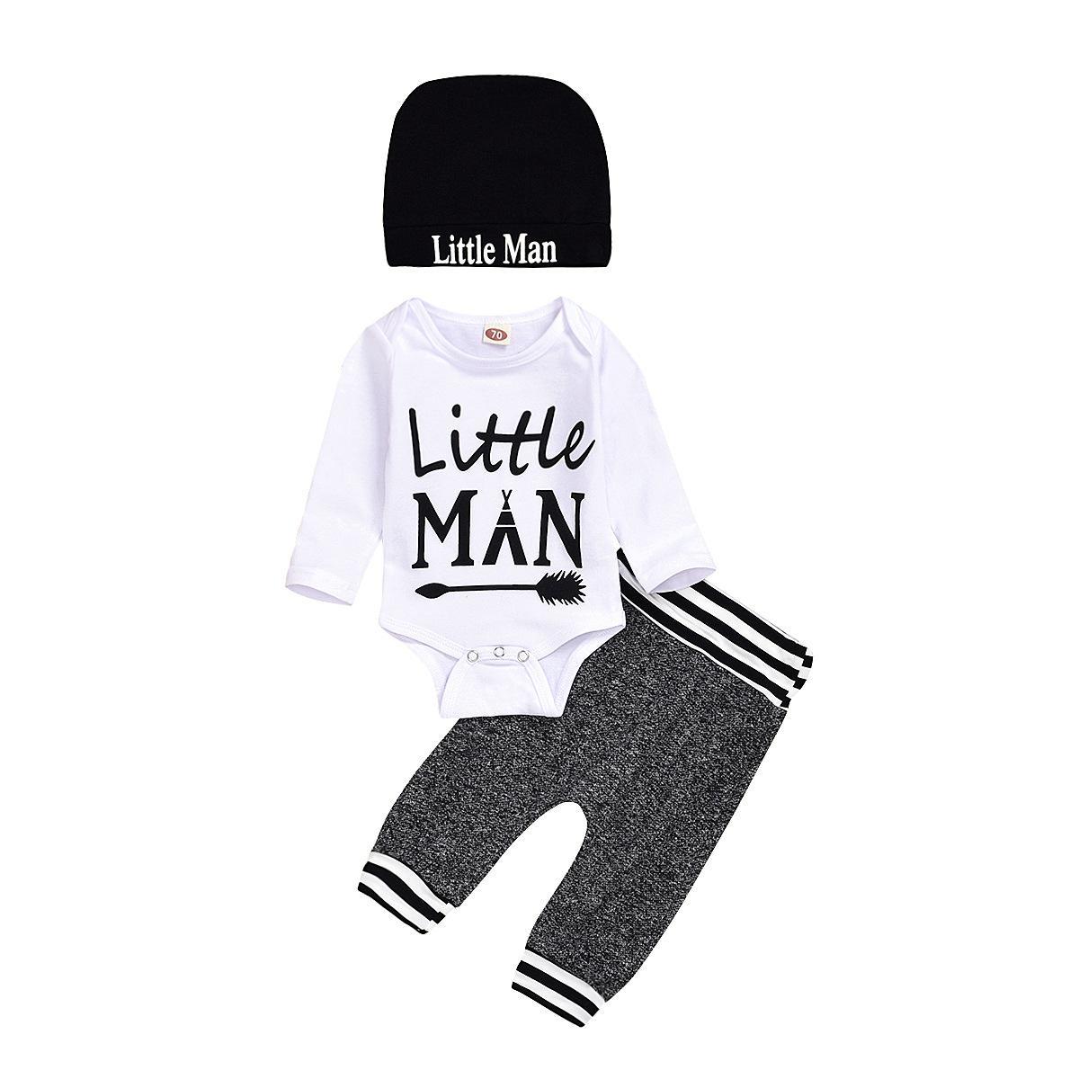 طفل رضيع رومبير مجموعة ملابس + سروال + قبعة طويلة الأكمام 3 قطع / لوط ليتل مان طفل الرضيع الجديد