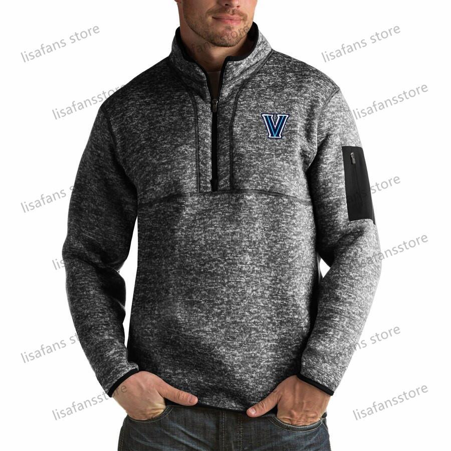 Вилланова Рискованного пуловер Кофта мужского Форчун Big Tall Quarter-Zip Pullover Жакеты прошитых Американского футбол Спорт толстовка