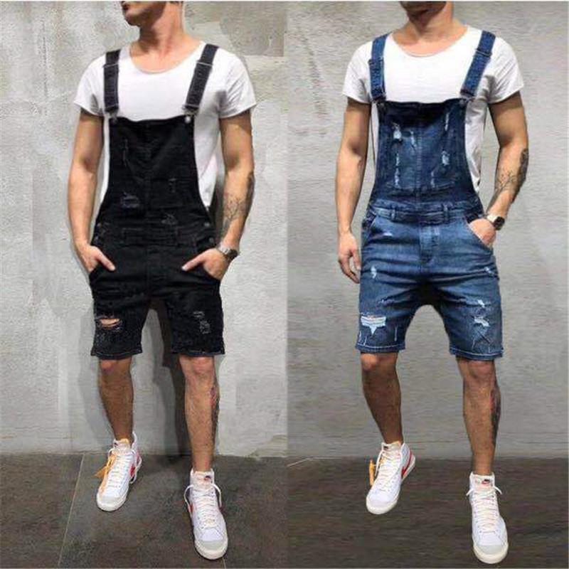مصمم نحيل قصير رجل جان وزرة أزياء الصيف ثقوب جان بنطلون ملابس العمل الذكور