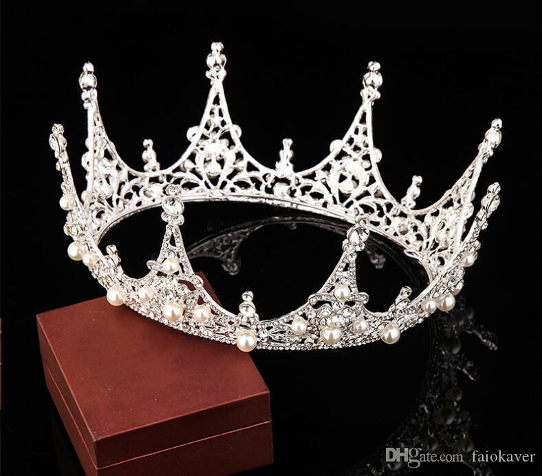 تاج الزفاف الفاخرة رخيصة ولكن جودة عالية التألق اللؤلؤ بلورات الزفاف الملكي تيجان الزفاف الحجاب عقال اكسسوارات للشعر