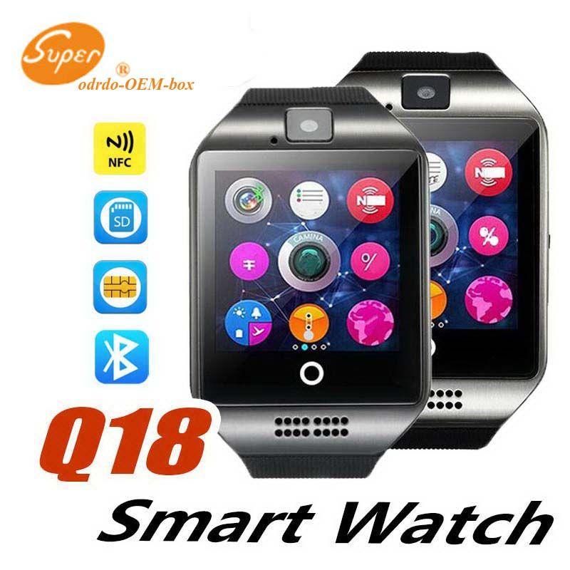 Q18 Bluetooth Smart Watch Men Avec Écran Tactile Batterie Grand Support TF Carte Sim Caméra pour Android Téléphone Passomètre Bracelet