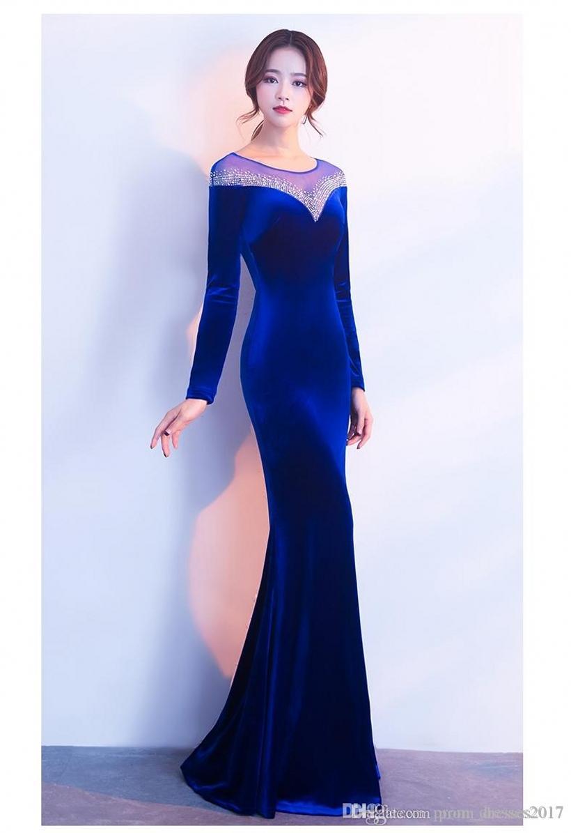 Long inverno Sexy Elegante Tamanho Blue Velvet Vestidos Além disso Prom Vestidos Fishtail Neck Manga comprida Halter vestidos de festa