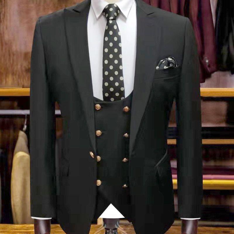 2020 свадебные мужские костюмы итальянски хлопка кнопки золота жениха брак костюмы Три штуки Пиджаки + брюки + жилет Slim Fit