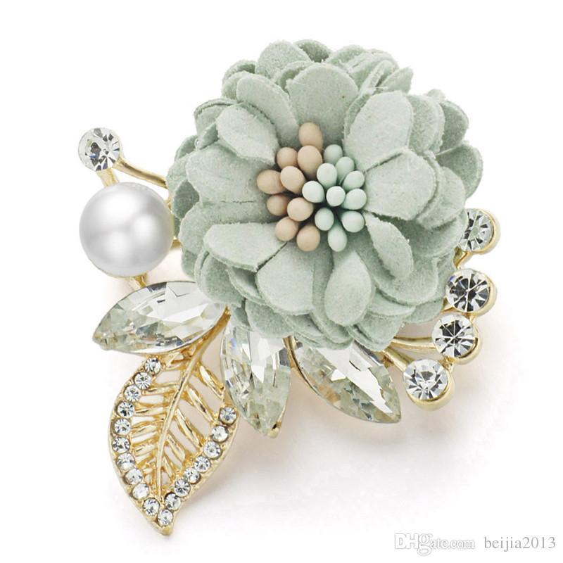 Pins, Broschen schöne Blume Blätter Kristall Strass simulierte Perle für Anzüge Revers Schal Fabric Broocher Pin Frauen Hochzeit Z076