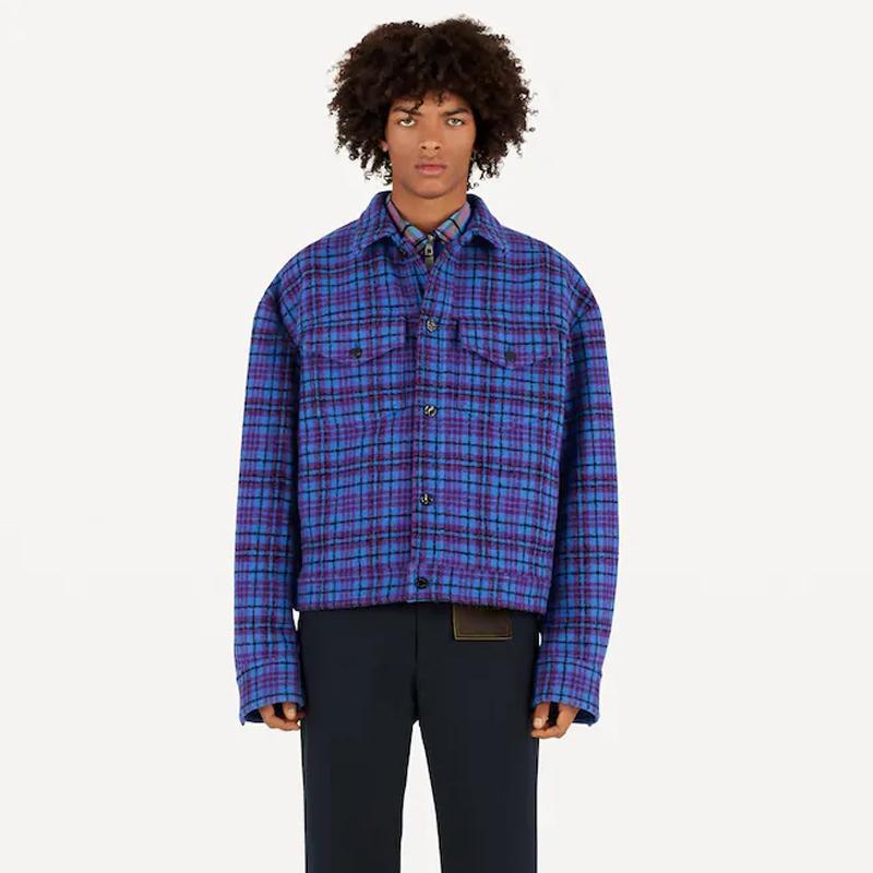 20FW Rot Blau Gitter Kurzer Abschnitt Jacke Klassische Mäntel Straße Oberbekleidung Winter warme Wolle Baumwollfaser Außenwindjacke HFHLJK108