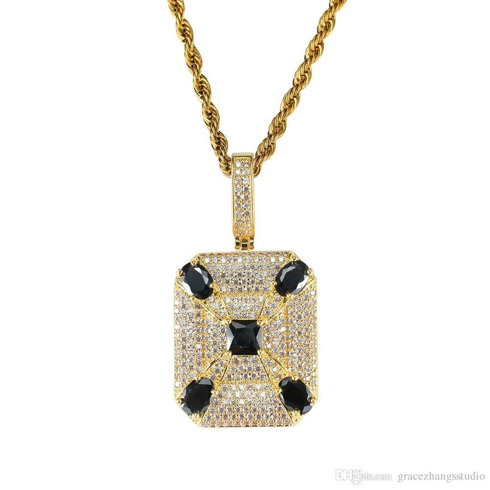 Piedras preciosas de hip hop negro collares colgantes para hombres diamantes cuadrados occidentales collar de lujo chapado en oro real cobre circones Cadenas cubanas