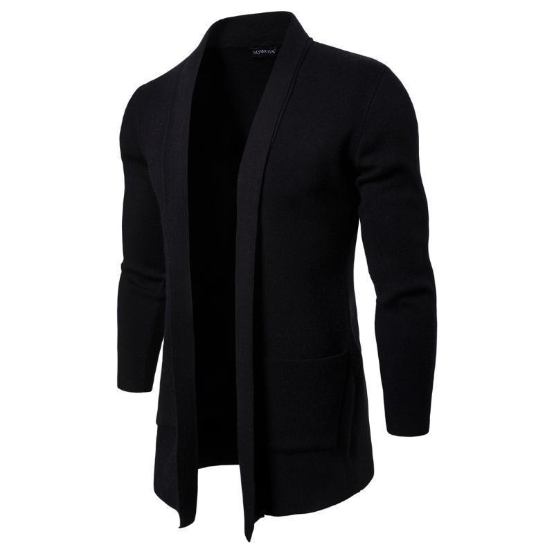 Sólidos Fique Collar manga comprida Casacos Casual Coats Moda Knit Com o Pocket Men Jackets Mens Abrir ponto