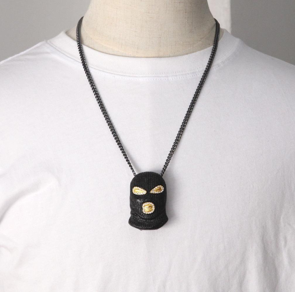 Nuovo Modo del luppolo lega Collana Mens stile punk 18K placcata argento mascherina capa del pendente di fascino di Cuba Catena
