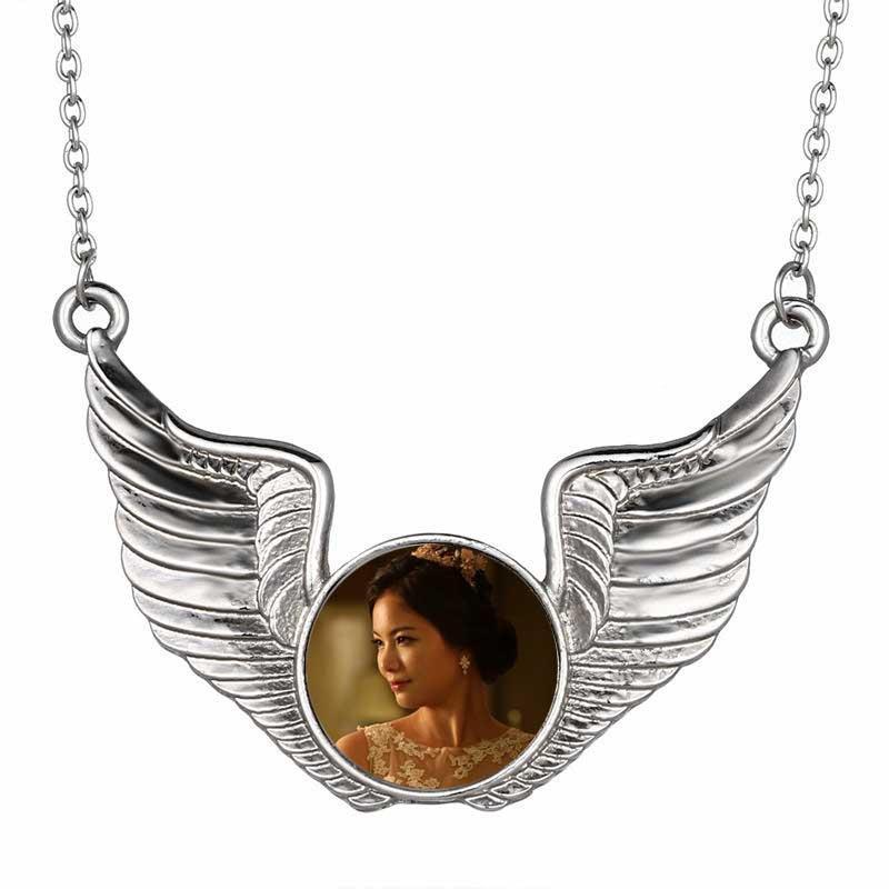 l'angelo di sublimazione abbottona i pendenti delle collane delle ali per la stampa di trasferimento a caldo su ordinazione dei monili diy nuovi stile 10pcs / lot