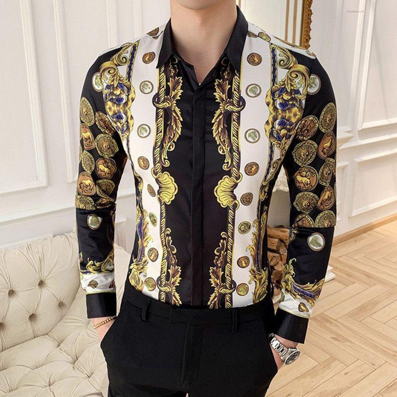 2020 Luxury Stampa della camicia degli uomini casuali dimagriscono manica Fit lungo maschio Shirts Vintage Tuxedo Shirt pois a maniche lunghe
