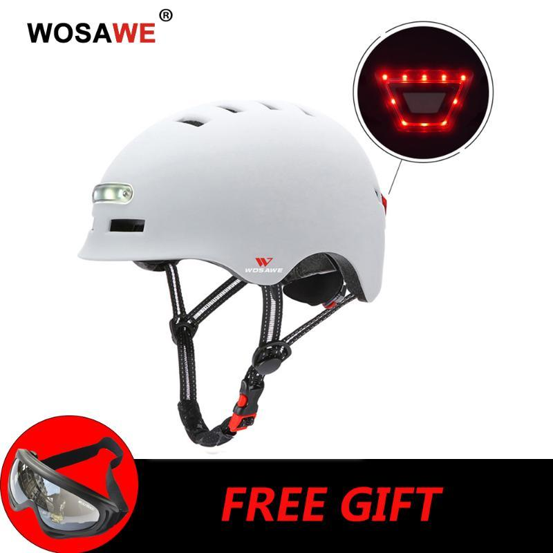 WOSAWE Motorcycle Helmet with Tailligh&Headlight Electric Scooter Helmet Signal Warning USB Rechargeable Safety Bike M L
