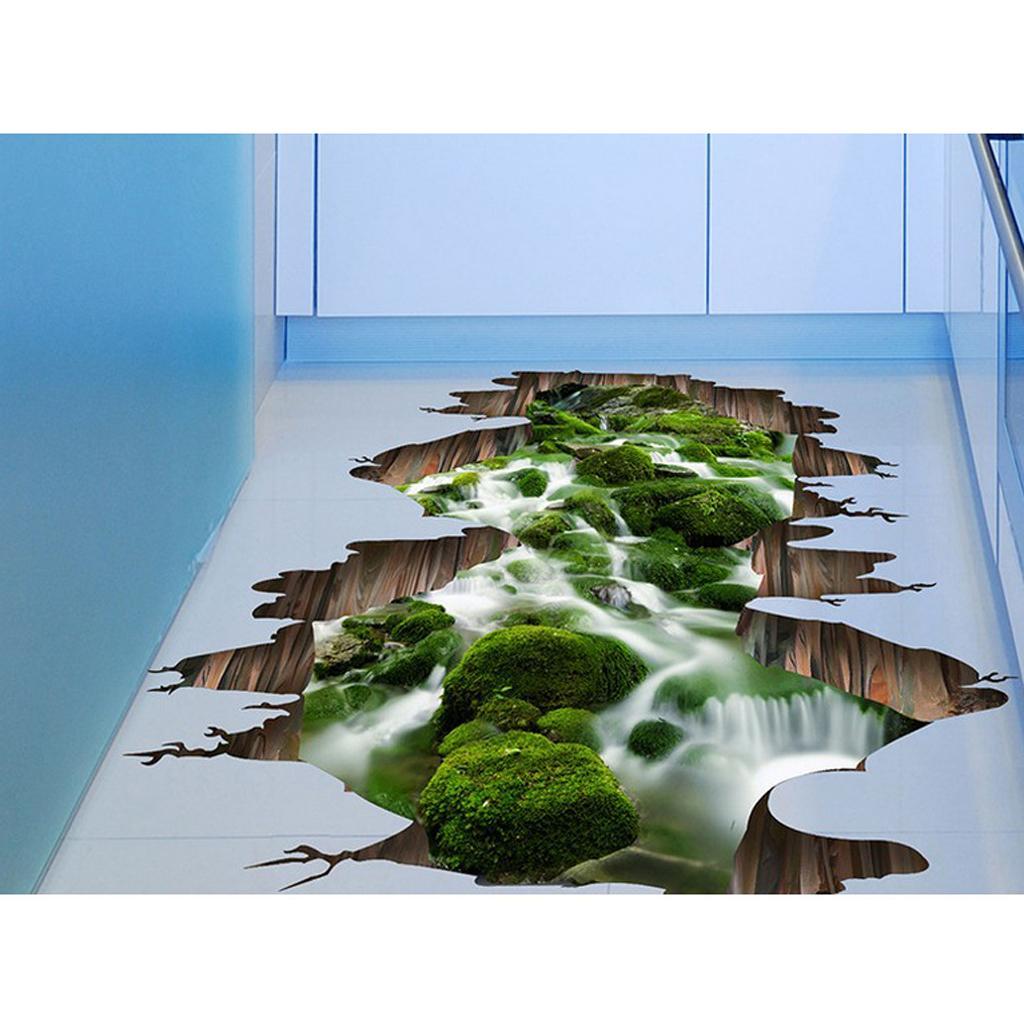 Sticker mural de sol 3D Stream Sticker mural Decals mural amovibles Décor Art Vinyl Art
