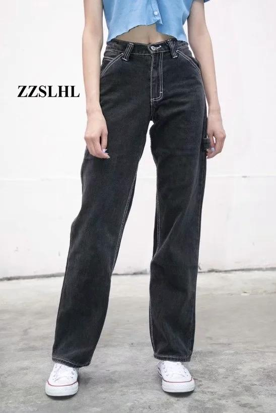 2020 Summer vintage boyfriend jeans for women mom high waist jeans casual wide leg black jeans korean denim pants streetwear
