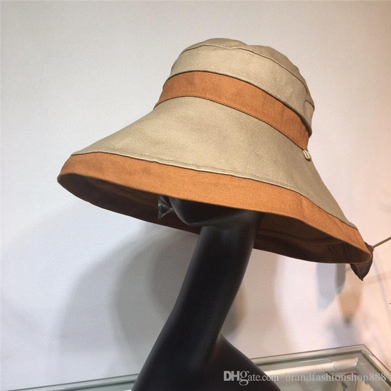 على الوجهين قبعات مصمم قبعات النساء المضادة للأشعة فوق البنفسجية الفاخرة القبعات الواسعة الحافة ظلة قبعة منسوجة الطليعية الأزياء قبعة الشاطئ سلسلة متقدمة مخصصة