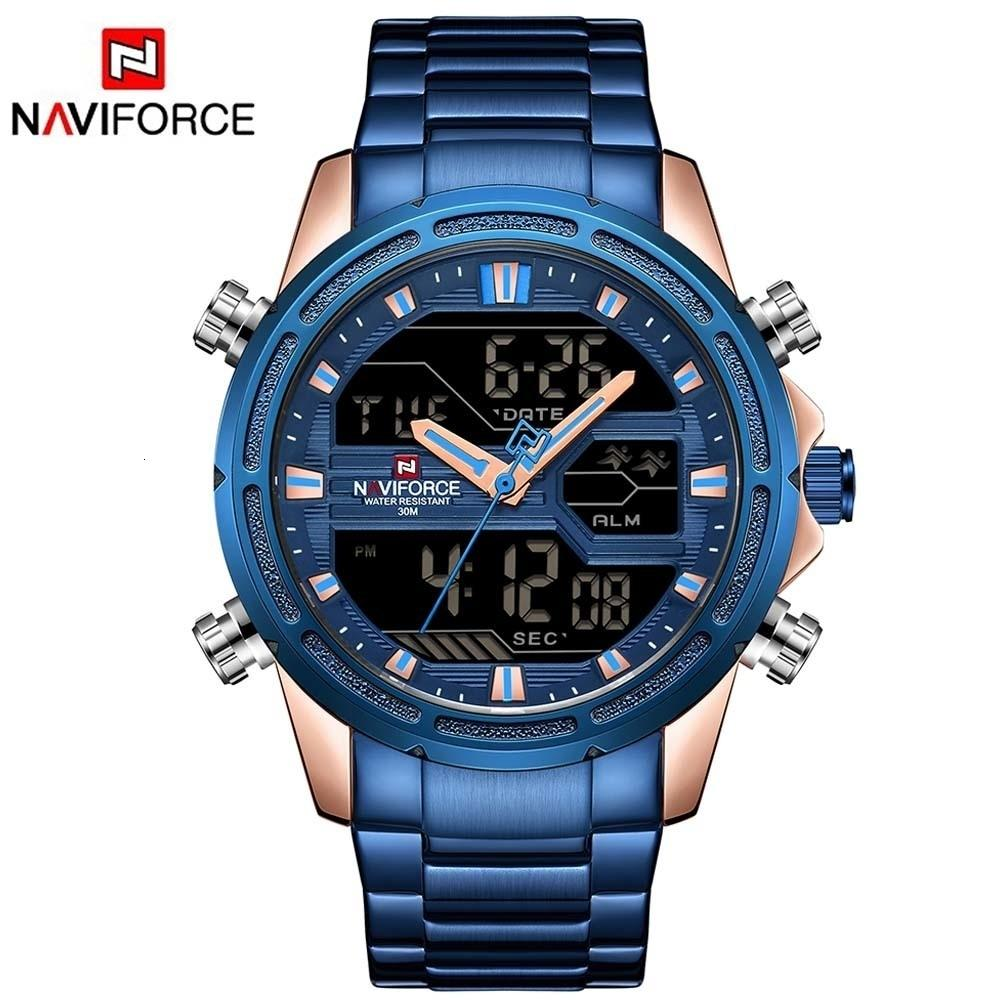Relogio Masculino Naviforce Brand Men Sport Watches Men Led Analog Digital Military Watch Steel Stainless Quartz Male Clock Y19051603
