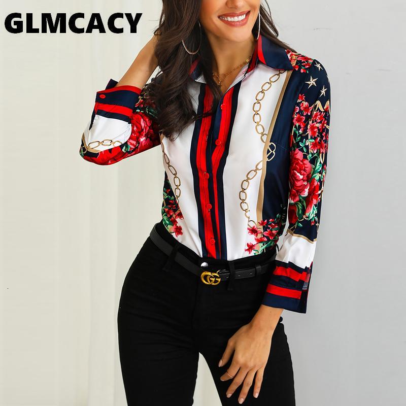 Kadın Çiçek Zincirleri Baskı Rahat Bluz Bohemian Şifon Turn-down Yaka Streetwear Zarif Ofis Bayan İlkbahar Sonbahar Gömlek SH190906