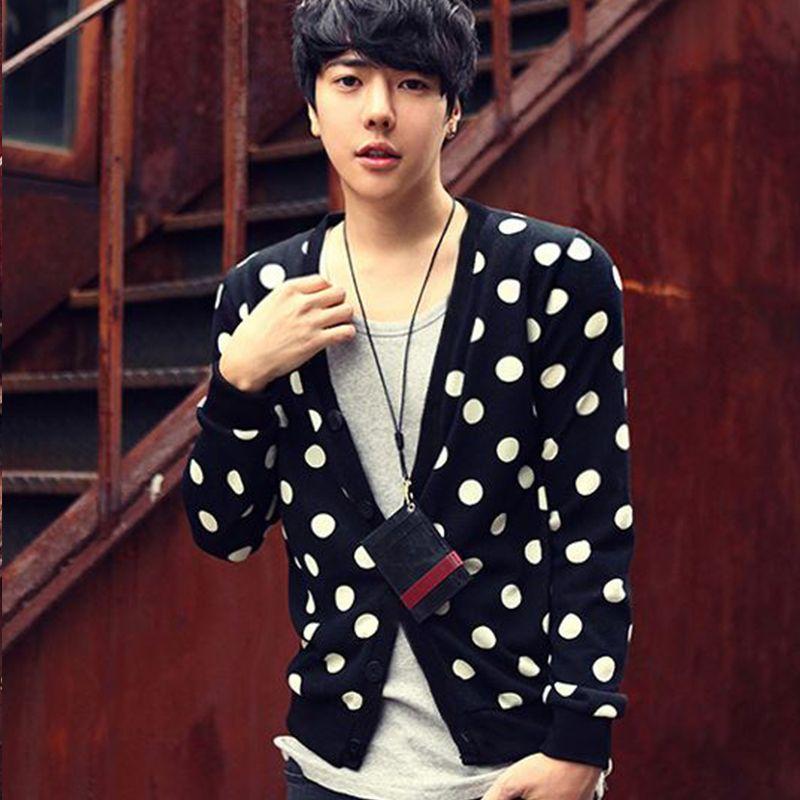 Men's Sweaters Plus Size Polka Dot Cardigan Fashion Personality Open Han Yinglun Campus Long Sleeve T-Shirt D