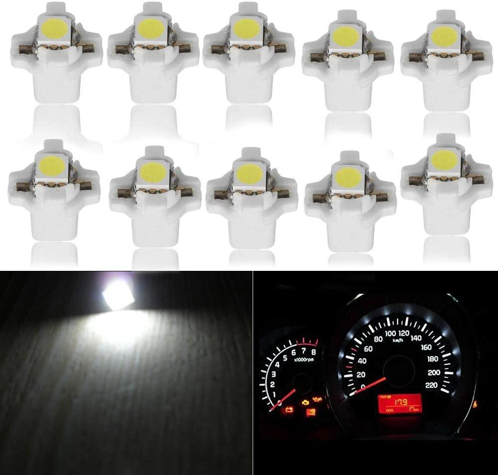 Car Guage Cluster Speedometer Light Bulbs White T5 B8.5D 5050 1SMD Auto Led Dashboard Dash Cluster Instrument Panel LED Light Bulbs 12V
