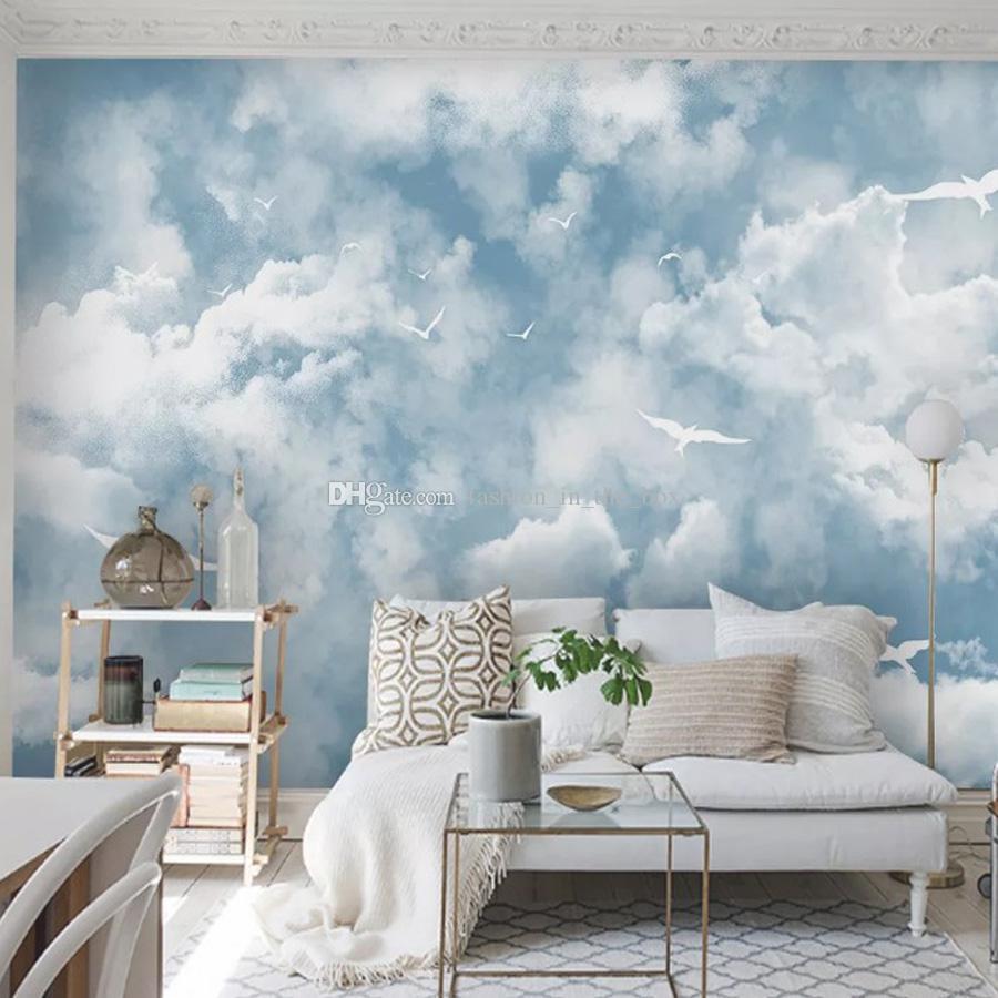 Camera Letto Carta Parati acquista carta da parati minimalista cielo blu nuvole bianche carta da  parati gabbiano carta da parati personalizzata 3d camera da letto bambini