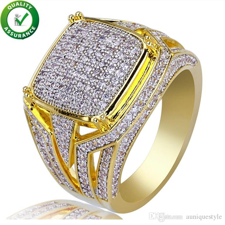 Hip Hop Jewelry Diamond Ring Mens Luxury Designer Rings Micro Pave CZ Iced Out Bling Big Square Finger Ring Gold Plated Wedding Accessories