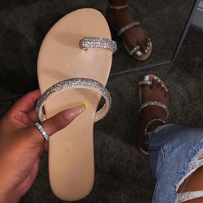 Novo strass chinelos de diamante brilhante 2019 sapatos femininos sandálias de diamantes sapatos de praia ao ar livre selvagem único dedo flip flop
