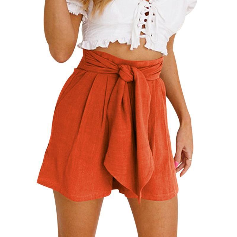 LASPERA 2020 Жаркое лето женские шорты Повседневный Ladies Beach высокой талией бинты шорты Мода женщина женщина Streetwear S-2XL