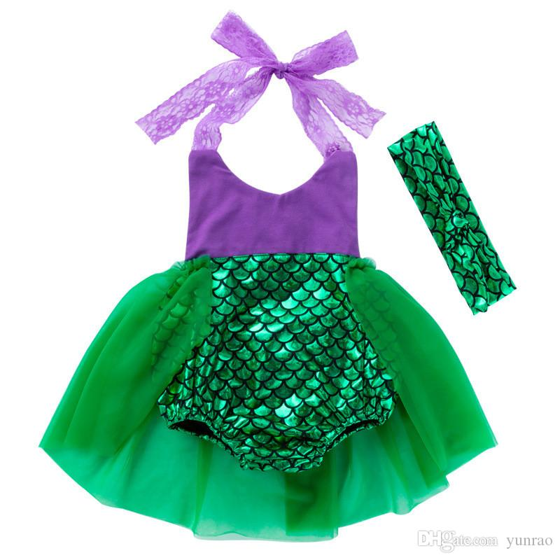 Baby Girls Clothing Kids Mermaid Romper Newborn Sequin Dress Children Beach Wear Blue Green Lace Headband