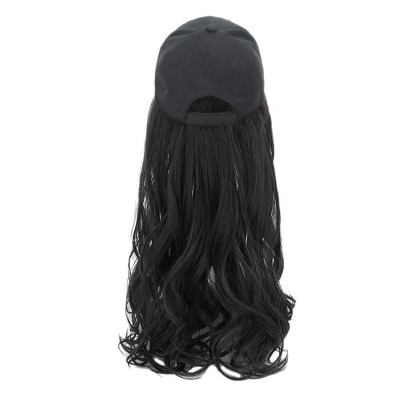 Baseball Cap perruque patient médical perruque Hat Un été longs cheveux bouclés Cheveux longs cheveux naturels Mode Set-Noir