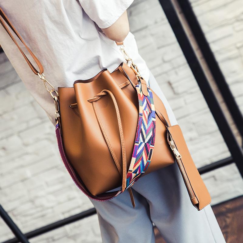 La moda Color de la correa del bolso del cubo de la Mujer de la PU de cuero bolso de Desinger señoras de Crossbody Bolsa Bolsa bolso feminina y bolso